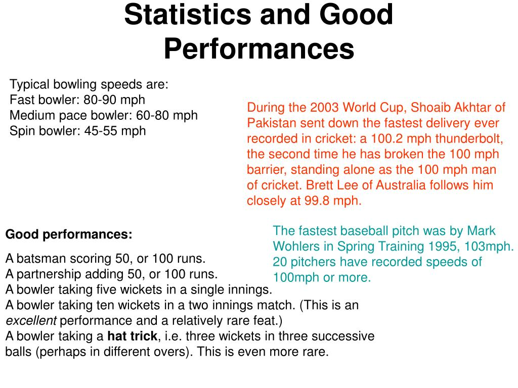 Statistics and Good Performances