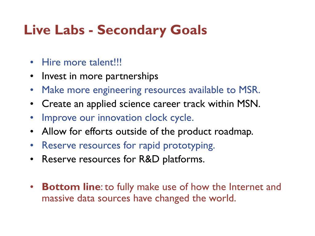 Live Labs - Secondary Goals