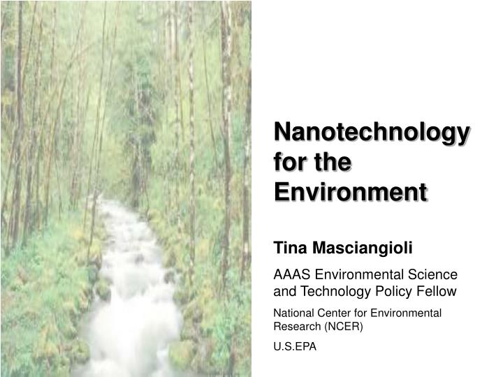 Nanotechnology for the Environment
