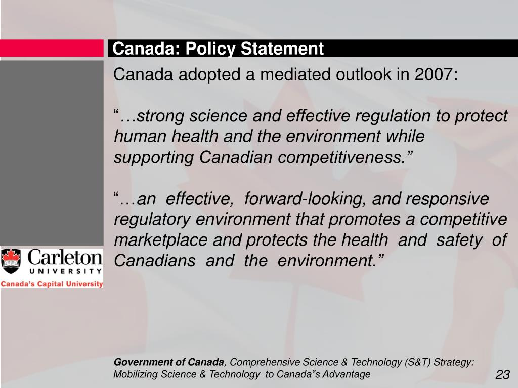 Canada: Policy Statement
