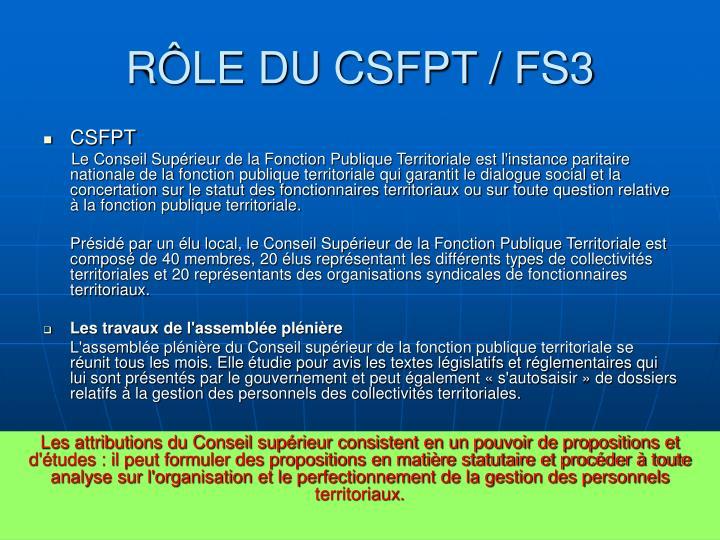 RÔLE DU CSFPT / FS3