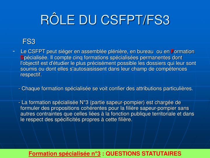 RÔLE DU CSFPT/FS3