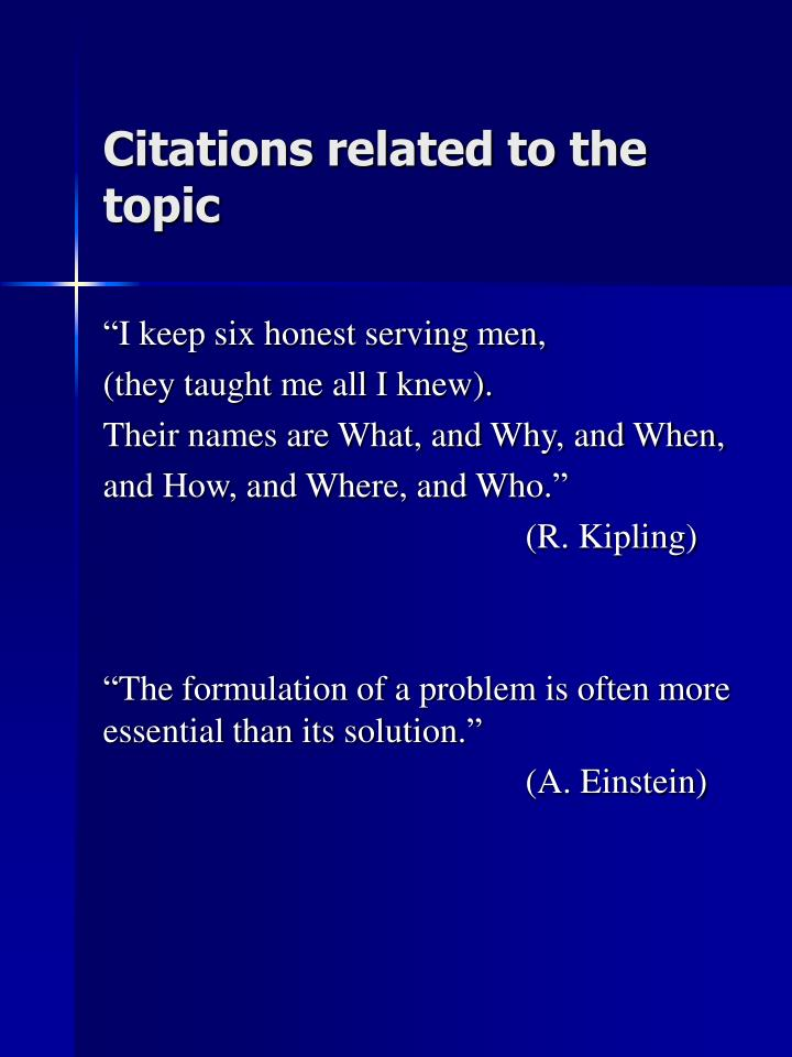 Citations related to the topic