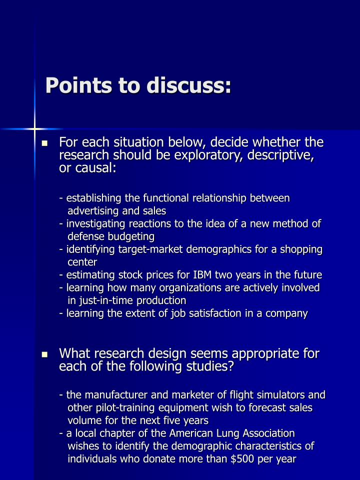 Points to discuss: