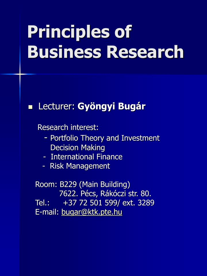 Principles of business research