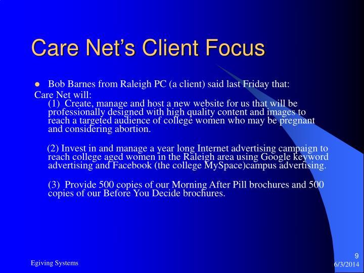 Care Net's Client Focus