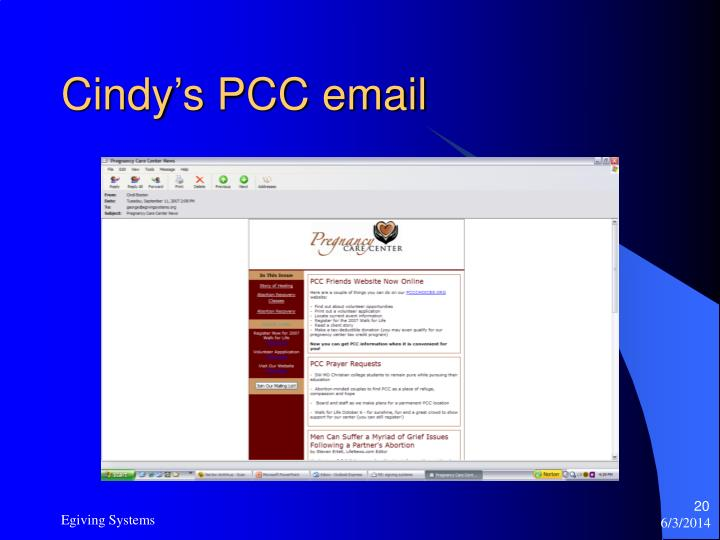Cindy's PCC email