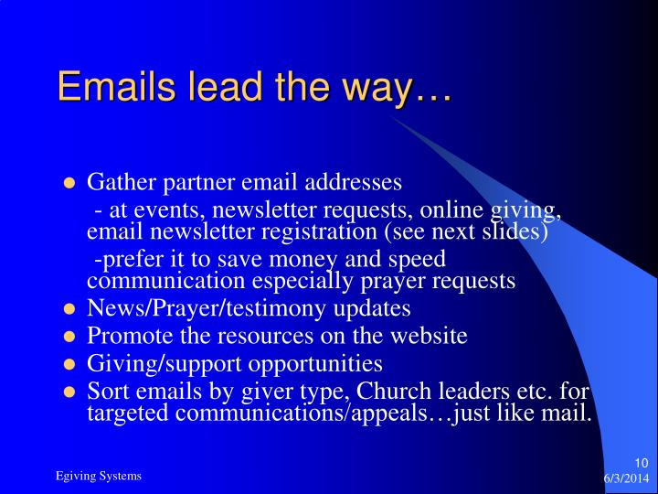 Emails lead the way…