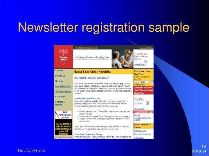 Newsletter registration sample