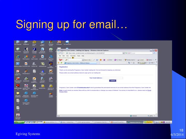 Signing up for email…