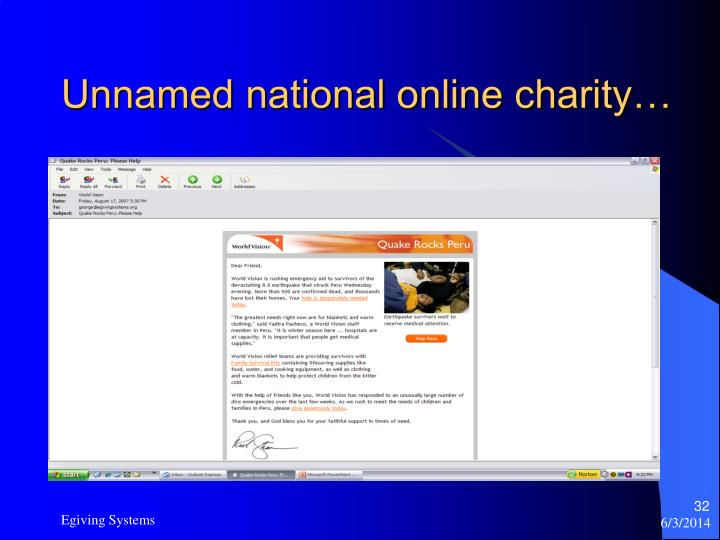 Unnamed national online charity…
