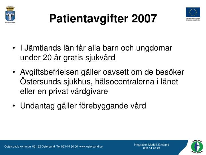 Patientavgifter 2007