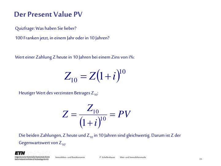 Der Present Value PV