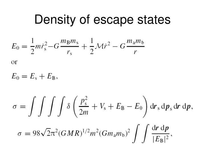 Density of escape states