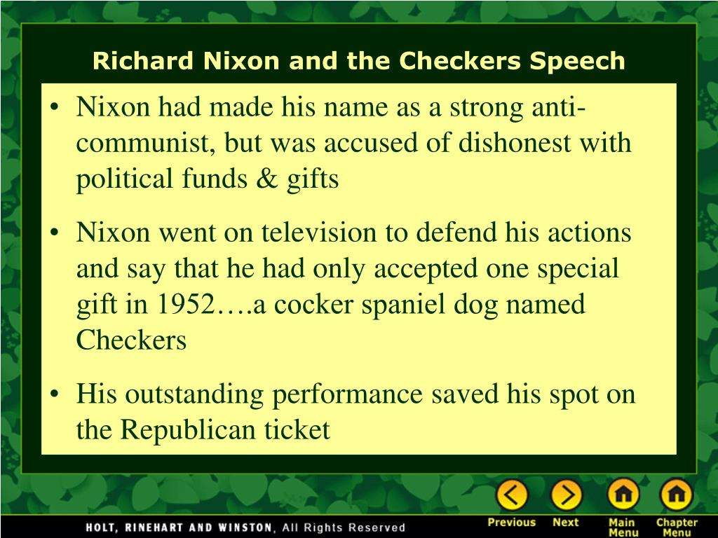 Nixon had made his name as a strong anti-communist, but was accused of dishonest with political funds & gifts