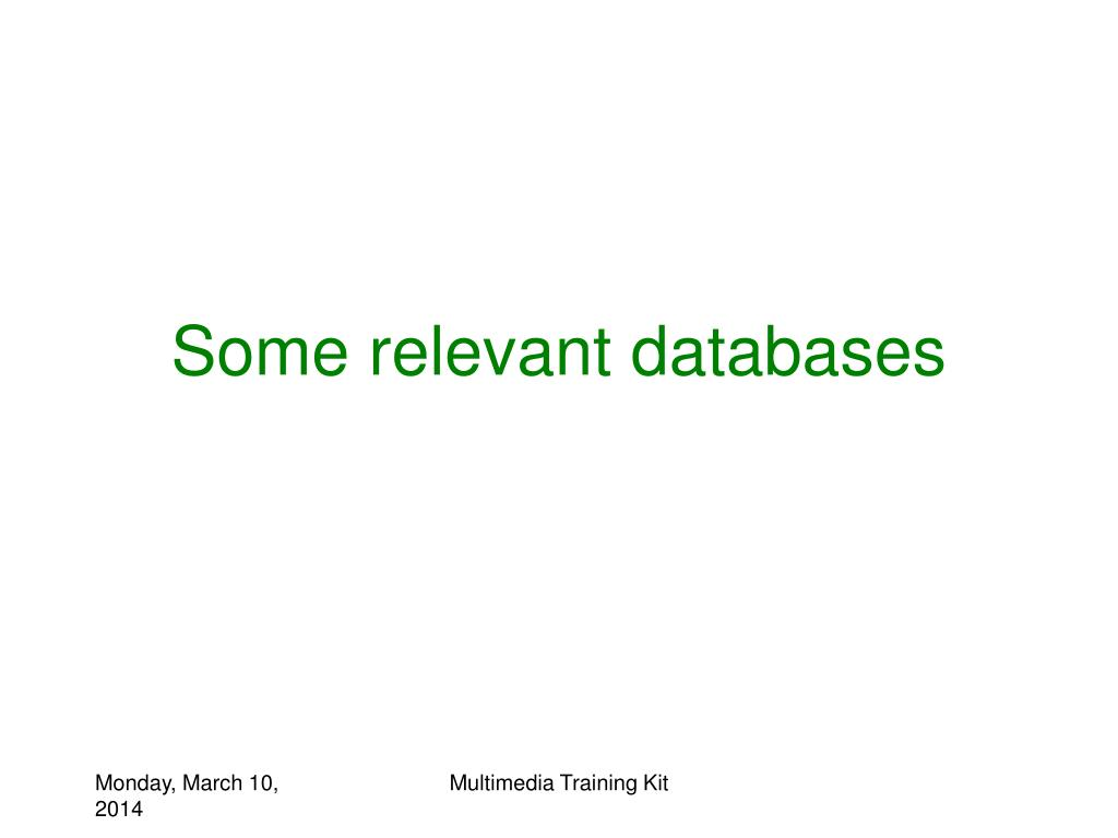 Some relevant databases