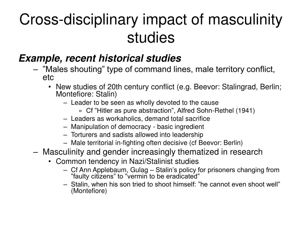 Cross-disciplinary impact of masculinity studies
