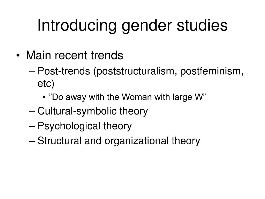 Introducing gender studies