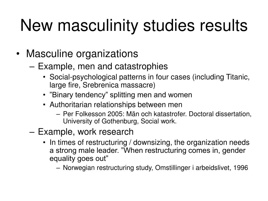 New masculinity studies results