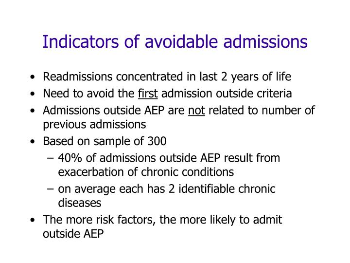 Indicators of avoidable admissions