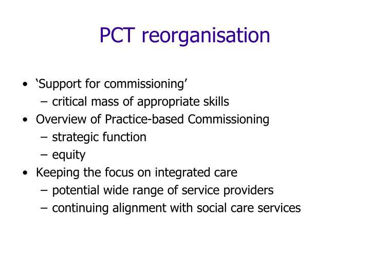 PCT reorganisation