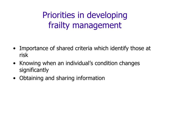 Priorities in developing