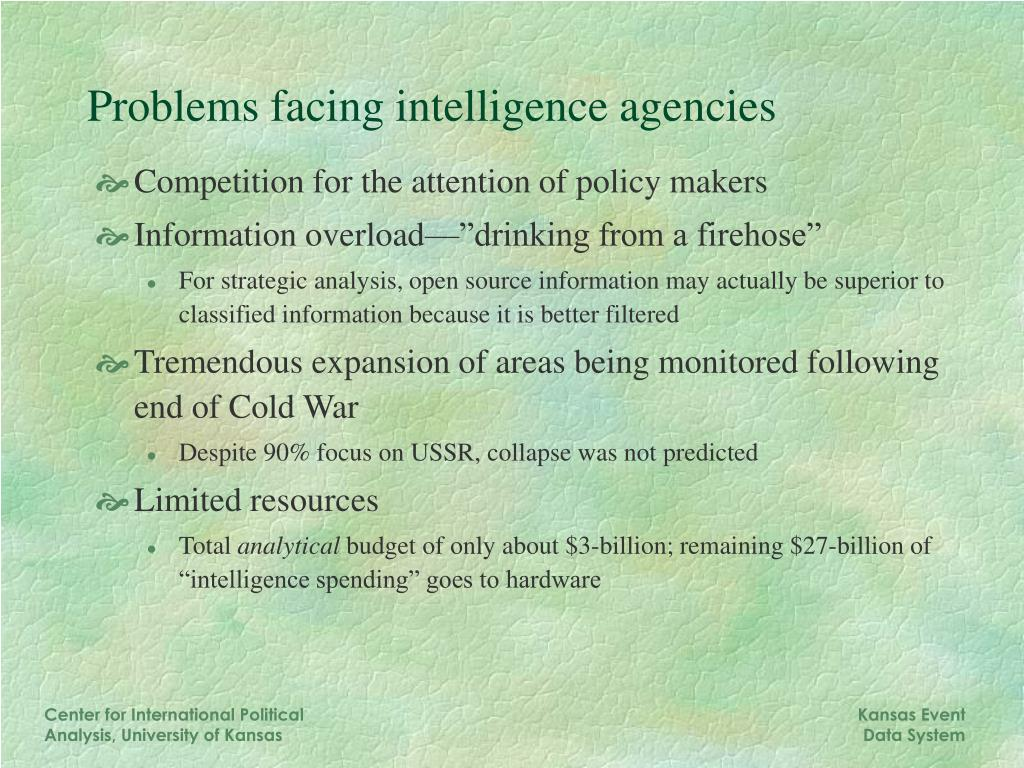 Problems facing intelligence agencies