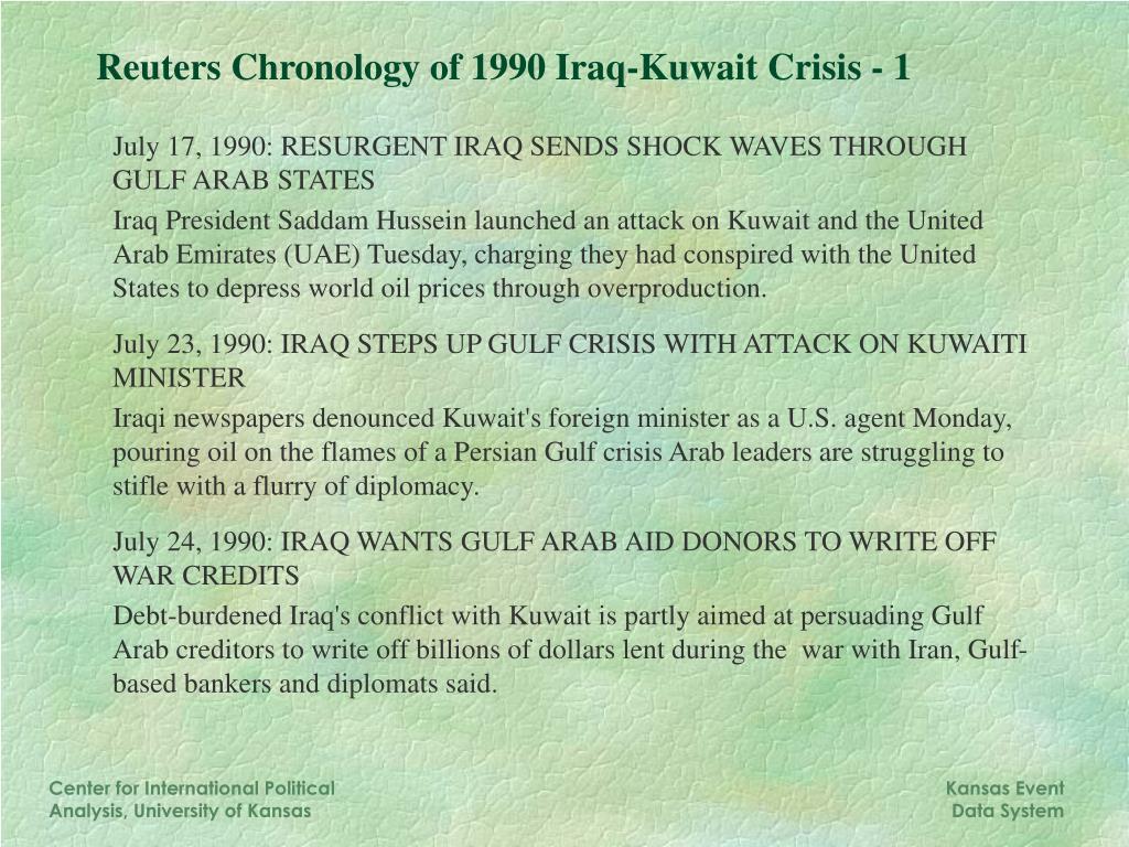 Reuters Chronology of 1990 Iraq-Kuwait Crisis - 1