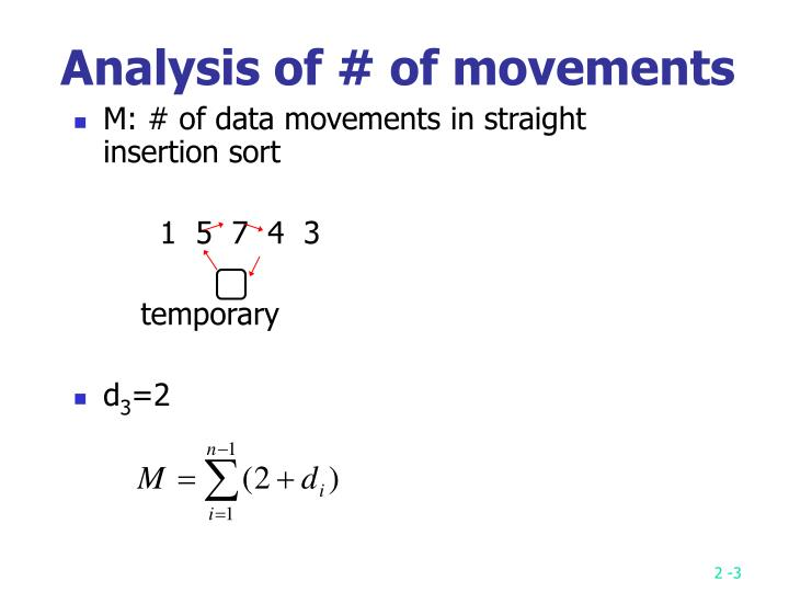 M: # of data movements in straight insertion sort
