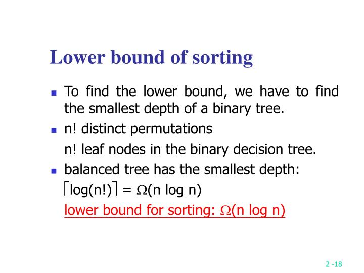 Lower bound of sorting