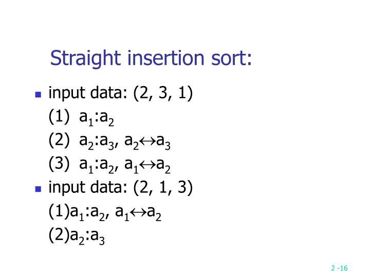 Straight insertion sort: