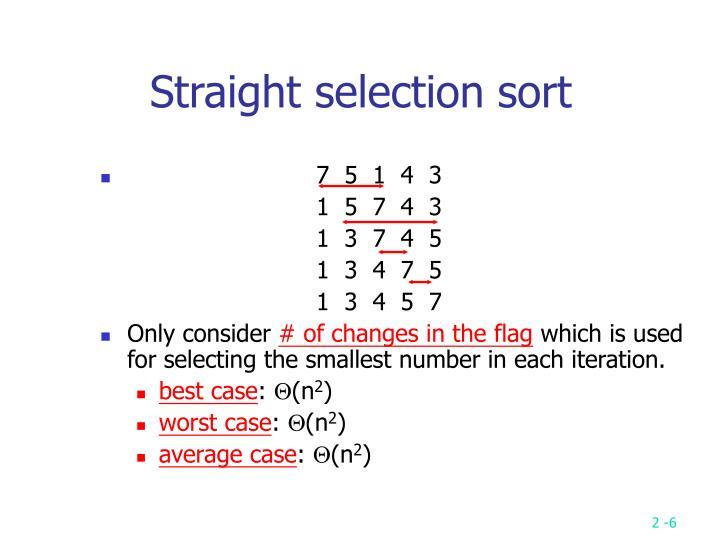 Straight selection sort