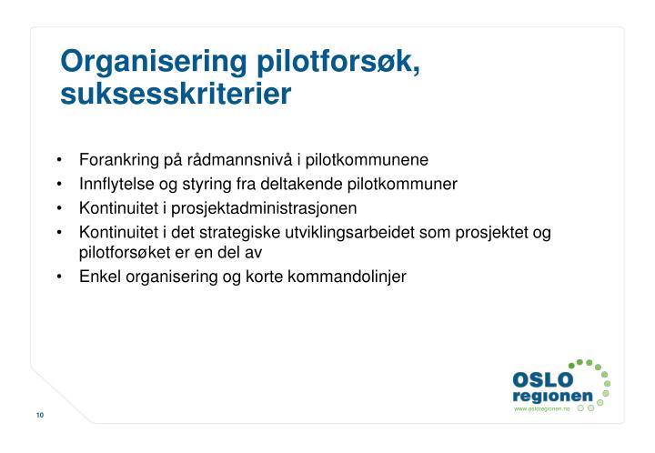 Organisering pilotforsøk, suksesskriterier