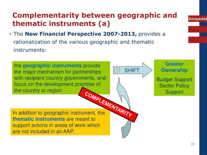 Complementarity between geographic and thematic instruments (a)