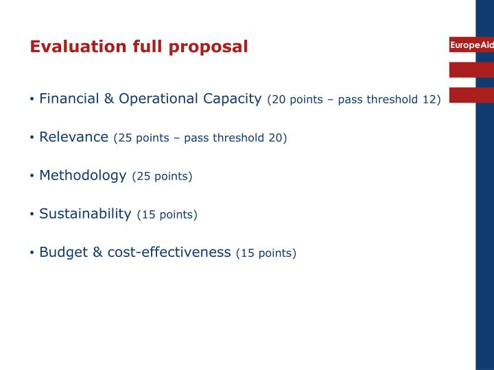 Evaluation full proposal