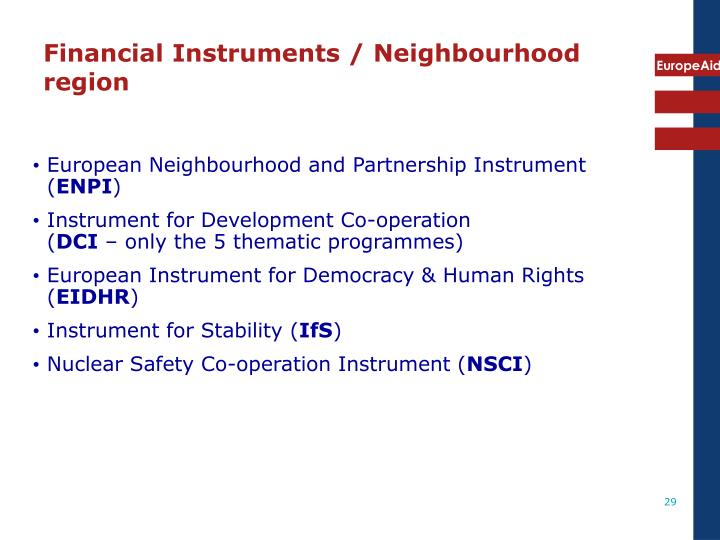 Financial Instruments / Neighbourhood region