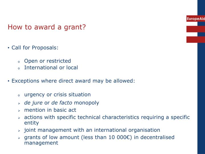 How to award a grant?