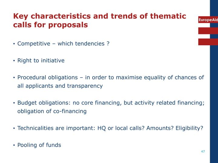 Key characteristics and trends of thematic calls for proposals