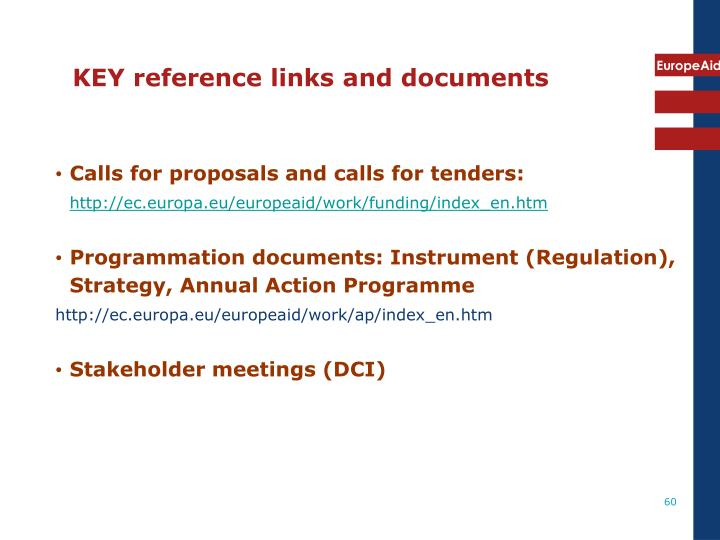 KEY reference links and documents