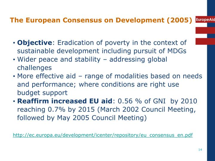 The European Consensus on Development (2005)