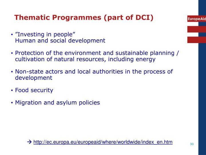 Thematic Programmes (part of DCI)