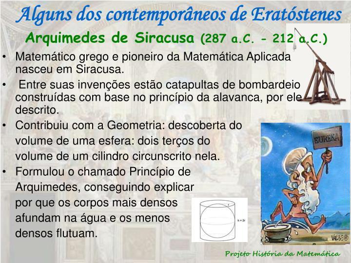Alguns dos contemporâneos de Eratóstenes