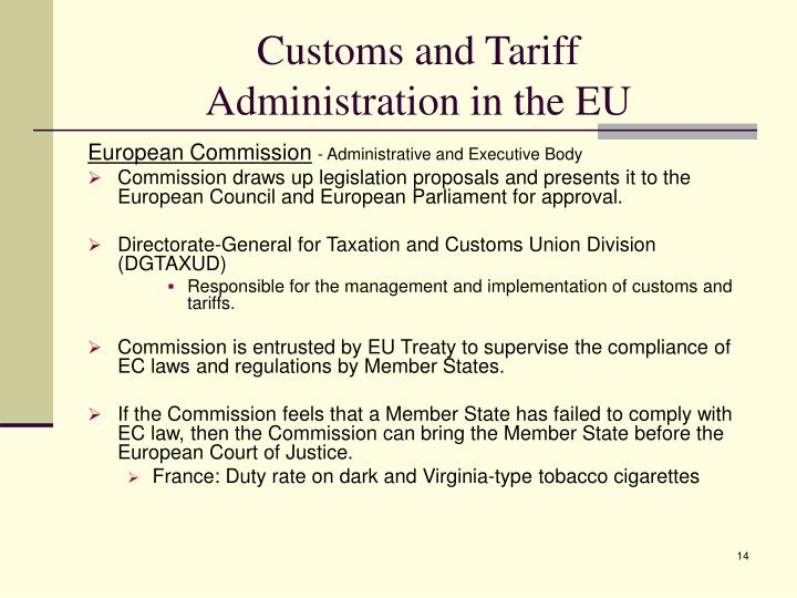Customs and Tariff