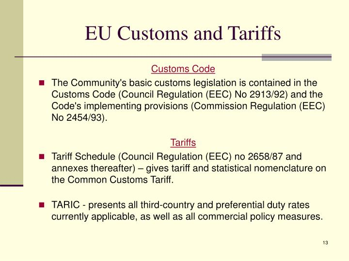 EU Customs and Tariffs