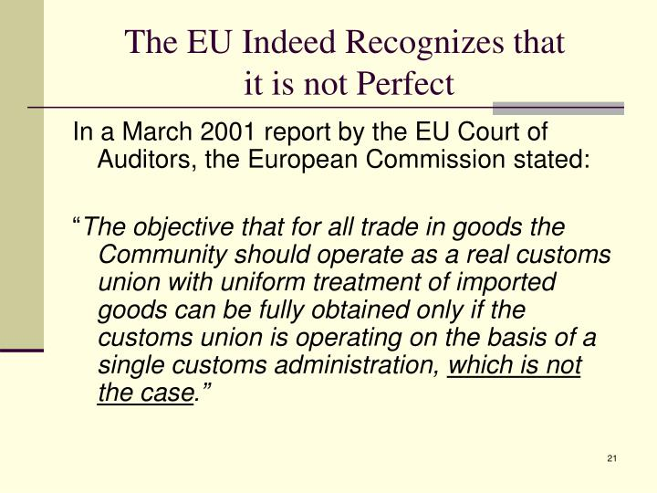 The EU Indeed Recognizes that
