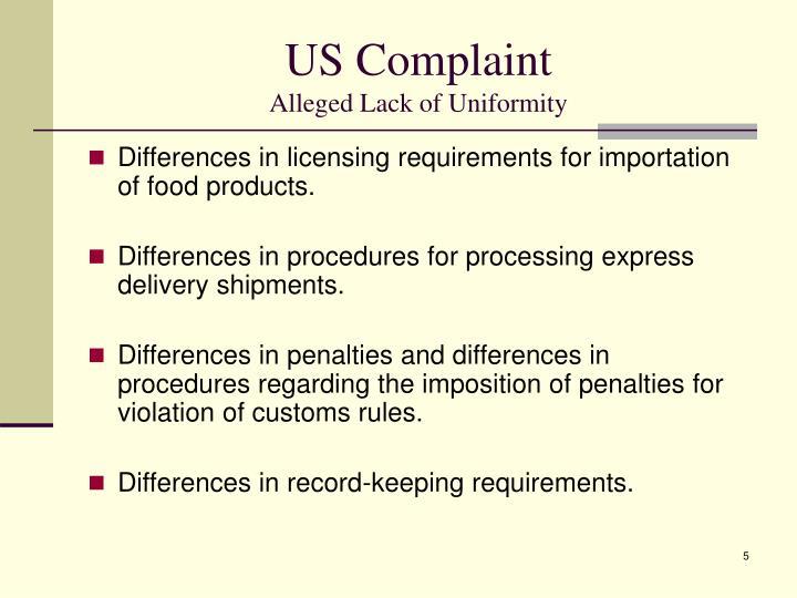US Complaint