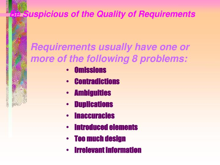 Be Suspicious of the Quality of Requirements