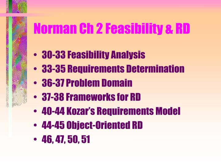 Norman Ch 2 Feasibility & RD
