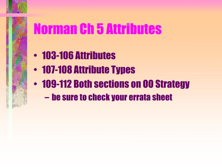 Norman Ch 5 Attributes