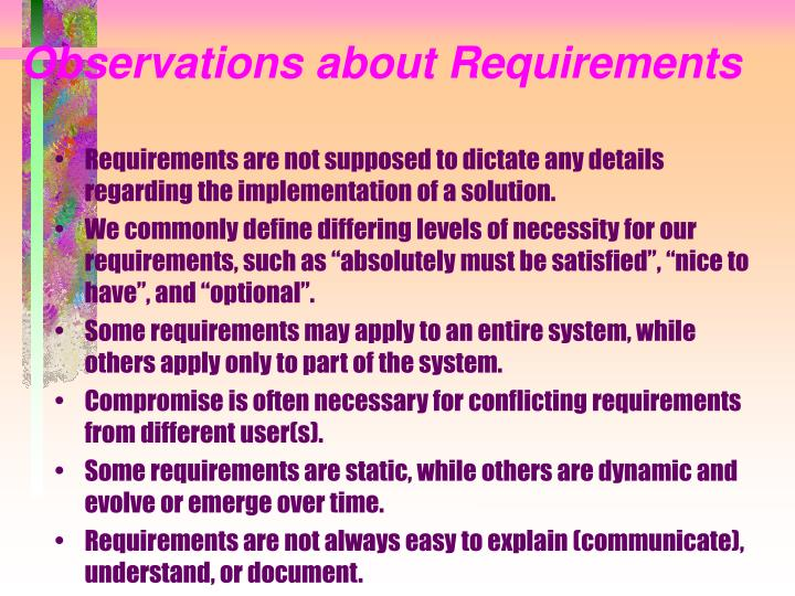 Observations about Requirements